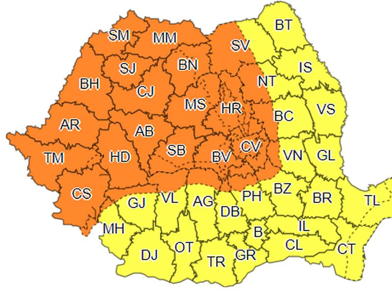 Meteo. Vremea în România. Cod galben și cod portocaliu de vreme rea, în toată țara