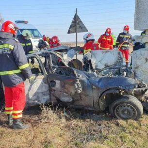 Accident devastator în intrarea în Slatina! Cine e șoferul care ar fi ars de viu