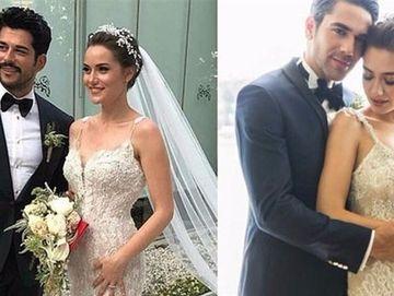 """Burak Ozcivit si Fahriye Evcen si-au copiat nunta dupa cea a lui Neslihan Atagul  (""""Nihan"""" din """"Dragoste Infinita"""") ? Uite cat de mult seamana tinutele purtate de miri la cele doua nunti celebre"""