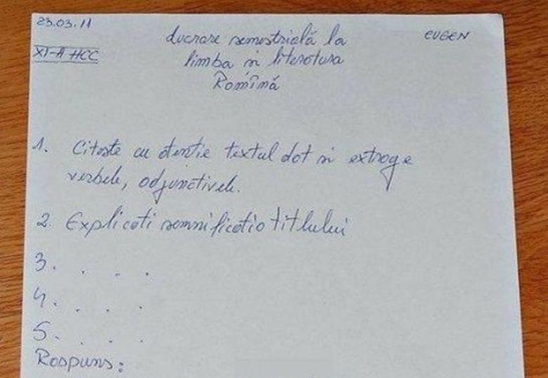 """Cat tupeu! Ce oferta i-a facut un elev unei profesoare de limba romana ca sa ii dea nota de trecere, uite ce i-a scris pe lucrarea de control: """"Daca imi dai nota 5, iti aduc..."""""""