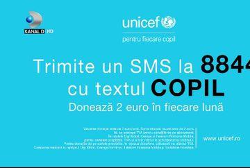 """Alatura-te campaniei UNICEF sustinuta de Kanal D, trimite acum SMS cu textul """"copil"""" la 8844 si doneaza 2 euro in fiecare luna"""