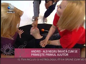 """PANICA in platoul emisiunii """"Draga mea prietena""""! Andrei de la Alb Negru a primit primul ajutor in direct VIDEO"""