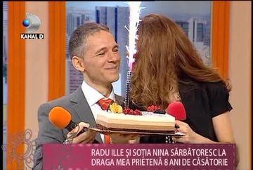 """Radu Ille si sotia lui, Nina, SARBATORITI la """"Draga mea prietena""""! Cei doi au implinit 8 ani de casnicie VIDEO"""