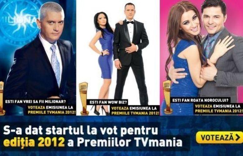 """VOTATI AICI Premiile TV Mania 2012! Pana pe 26 noiembrie """"WOWbiz"""", """"Vrei sa fii milionar"""" si """"Roata Norocului"""" se lupta pentru TROFEU"""