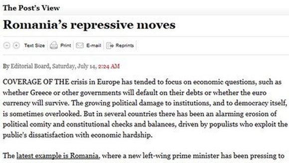 """Washington Post: """"Romania, un exemplu al erodarii alarmante a consensului politic si echilibrului puterii"""""""