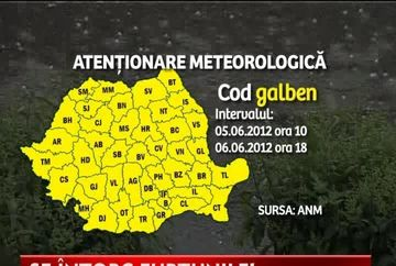 AVERTIZARE METEO: Marti si miercuri - COD GALBEN de ploi si vijelii in toata tara