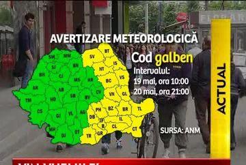 Meteorologii avertizeaza: COD GALBEN de vijelii, ploi si grindina in Bucuresti si 19 judete