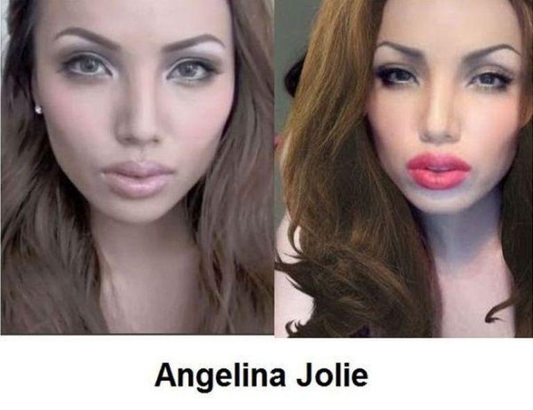 WOW - Se poate TRANSFORMA orice VEDETA prin machiaj! Invata cum sa devii Angelina Jolie