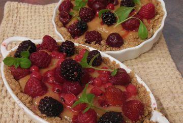 Tarta cu budinca si fructe (Gata in 5 minute)