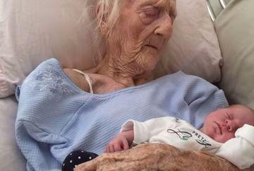 Poza care face cat o mie de cuvinte! Ce se intampla cand o femeie in varsta de 101 ani isi tine in brate stranepoata in varsta de 2 saptamani