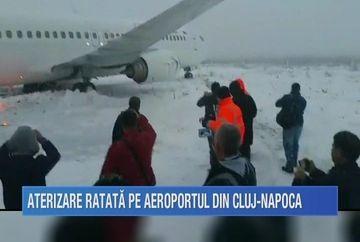 Un avion cu 116 oameni la bord a ajuns in camp, dupa ce a ratat aterizarea si a iesit de pe pista aeroportului din Cluj-Napoca!