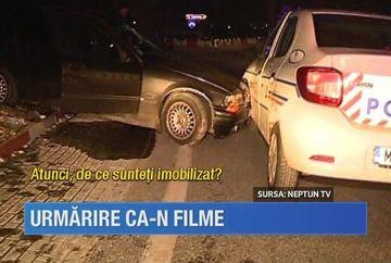 Scena ca-n filmele de actiune in judetul Constanta! 18 focuri de arma, o masina de politie avariata si un suspect de furt incatusat