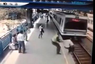 IMAGINI SOCANTE! Un sinucigas, SALVAT IN ULTIMUL MOMENT de un politist VIDEO