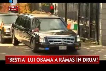E blindata pana la refuz, insa a ramas in drum dintr-un motiv STUPID! Vezi ce s-a intamplat cu limuzina presedintelui american Barack Obama VIDEO
