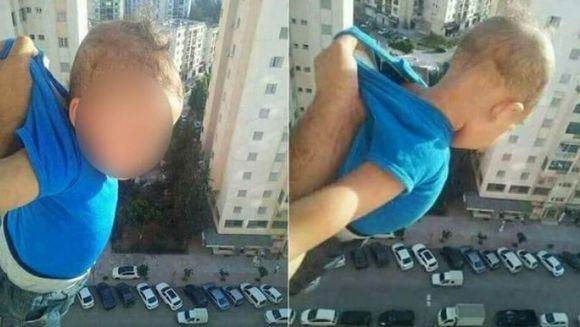 """CUTREMURATOR: Si-a scos copilul peste balconul apartamentului de la etajul 15 si s-a pozat tinandu-l doar de tricou: """"1.000 de like-uri sau ii dau drumul!"""" Uite cum s-a terminat totul"""