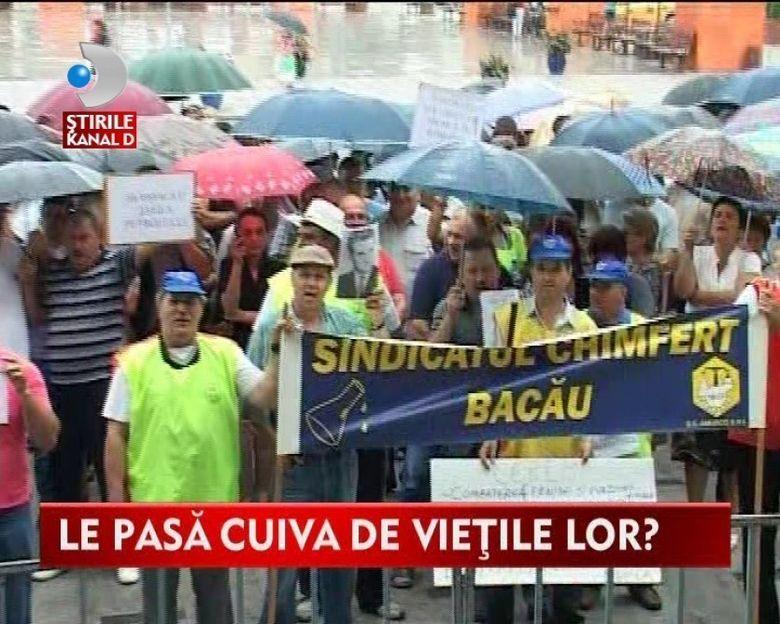 PROTESTE la Bacau! Angajatii unui combinat chimic si-au cerut SALARIILE RESTANTE VIDEO