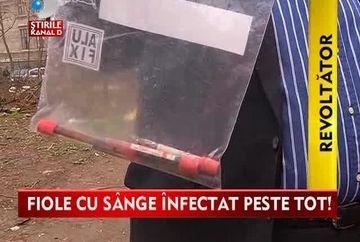 Un adevarat FOCAR DE INFECTIE in centrul Bucurestiului! Parcul de langa fostul spital Scarlat Longhin era plin cu ace, seringi si eprubete cu sange VIDEO
