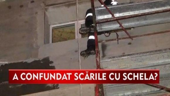 VIDEO DE SENZATIE! Un betiv a confundat scarile blocului cu schela de reabilitare