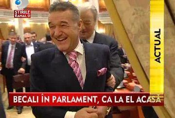 Nu mai vrea la Bruxelles! Imbracat la 4 ace, Gigi Becali s-a simtit in Parlament ca la el acasa VIDEO