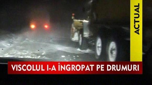 Masinile armatei au ramas intepenite in zapda la Tulcea VIDEO