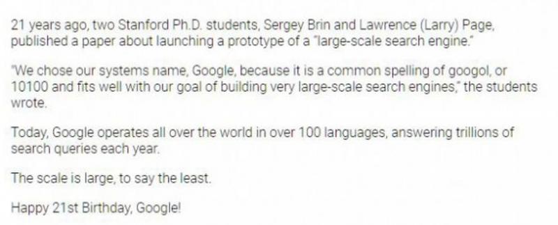 google aniverseaza 21 de ani