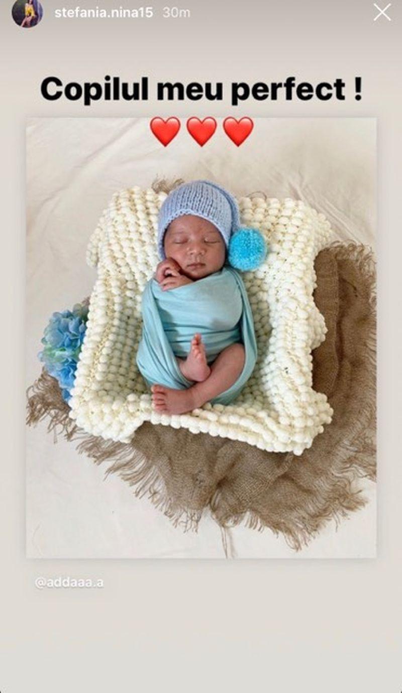 Stefania a pus prima fotografie cu bebelusul