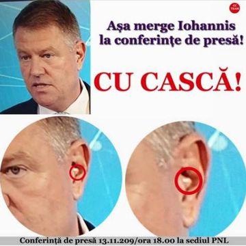 A avut sau nu cască președintele Iohannis la conferința de presă de ieri?! Adevărul despre colajul distribuit de PSD-iști