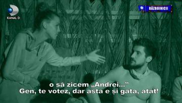 """Razboinicul Andrei a dat cartile pe fata! """"E nu am cum sa zic in competitia asta niciodata ca nu o s-o votez pe Karina sau pe Ema!"""" Iata cum au reactionat colegii sai!"""