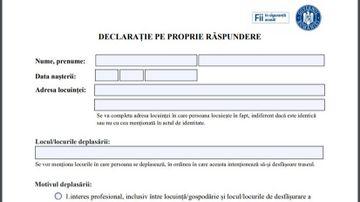 DOCUMENT: Descarca declaratia pe propria raspundere pentru starea de urgenta, noua versiune