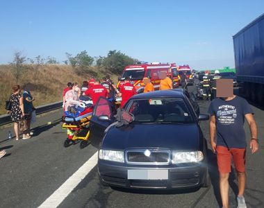 Accident teribil pe Autostrada A2. Nouă persoane au ajuns la spital