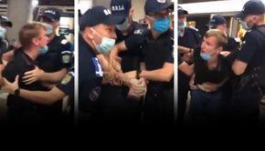 VIDEO| Reacția tânărului încătușat la metrou pentru că nu purta masca pe nas