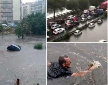 Imagini șocante în Palermo. Mașini luate de ape și morți, după cea mai puternică ploaie...