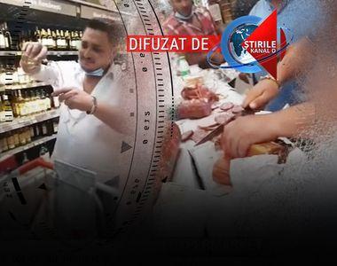 VIDEO - Chef grotesc într-un hypermarket din Capitală: 10 persoane au încins o masă...