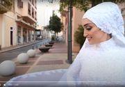 O mireasă își făcea ședința foto în timpul exploziei din Beirut. Înfiorător ce a rămas filmat