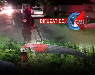 VIDEO | Poliţişti atacaţi şi răniţi cu coasa