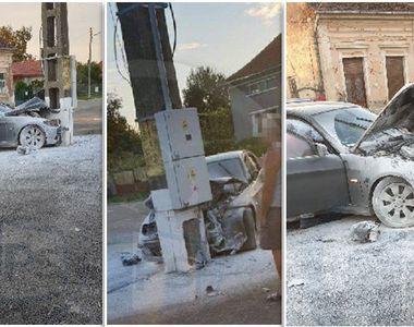 Un polițist băut din Satu Mare a spulberat o mașină BMW într-un stâlp
