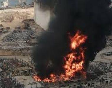 Incendiu de proporţii în portul din Beirut, la o lună după explozia uriaşă