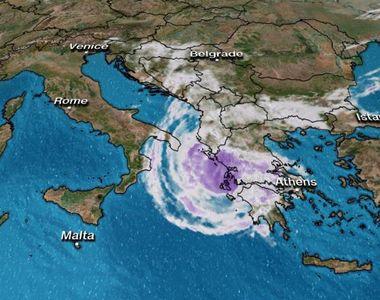 """Grecia, lovită de un ciclon. Imaginile groazei: """"Cădeau copaci peste tot"""""""