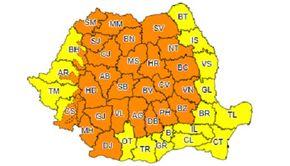 Alertă ANM! Cod portocaliu de ploi abundente pentru cea mai mare parte a ţării - HARTA