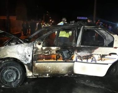 VIDEO - Accident grav de circulație. Incendiu la mașina de poliție
