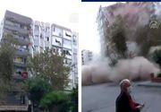 Momentul șocant în care o clădire de locuințe se prăbușește în Izmir, după cutremurul devastator de azi