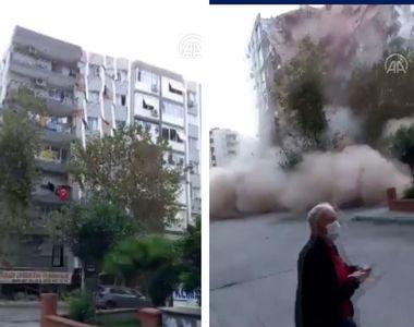 Momentul șocant în care o clădire de locuințe se prăbușește în Izmir, după cutremurul...