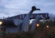 Olanda: Un tren a rămas suspendat la o înălțime de 10 metri, în sculptura unei cozi de balenă