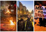 Proteste în marile orașe din SUA după alegeri. Steagul Americii, în flăcări