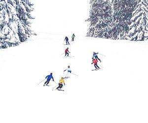 oameni pe partie vacanta schi