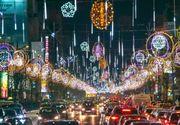 VIDEO - Luminițele de Crăciun au creat un decor feeric în București