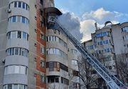 VIDEO - Incendiu puternic la etajul șase. O femeie a sărit de la geam