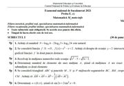 Subiecte simulare BAC 2021 Matematică pentru clasa a 11-a şi a 12-a