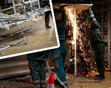VIDEO-Magazinele din stațiile de metrou, demolate cu forța de oficiali
