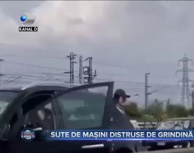 Sute de masini distruse de grindina in Italia